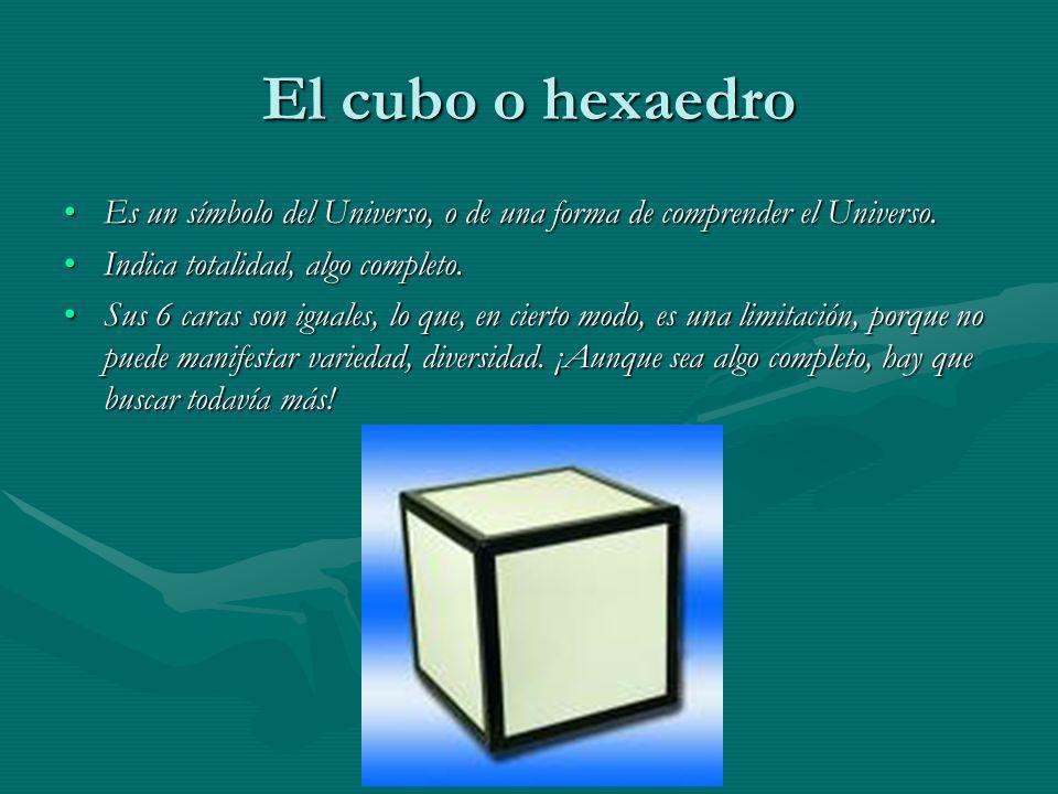 El cubo o hexaedro Es un símbolo del Universo, o de una forma de comprender el Universo.Es un símbolo del Universo, o de una forma de comprender el Un