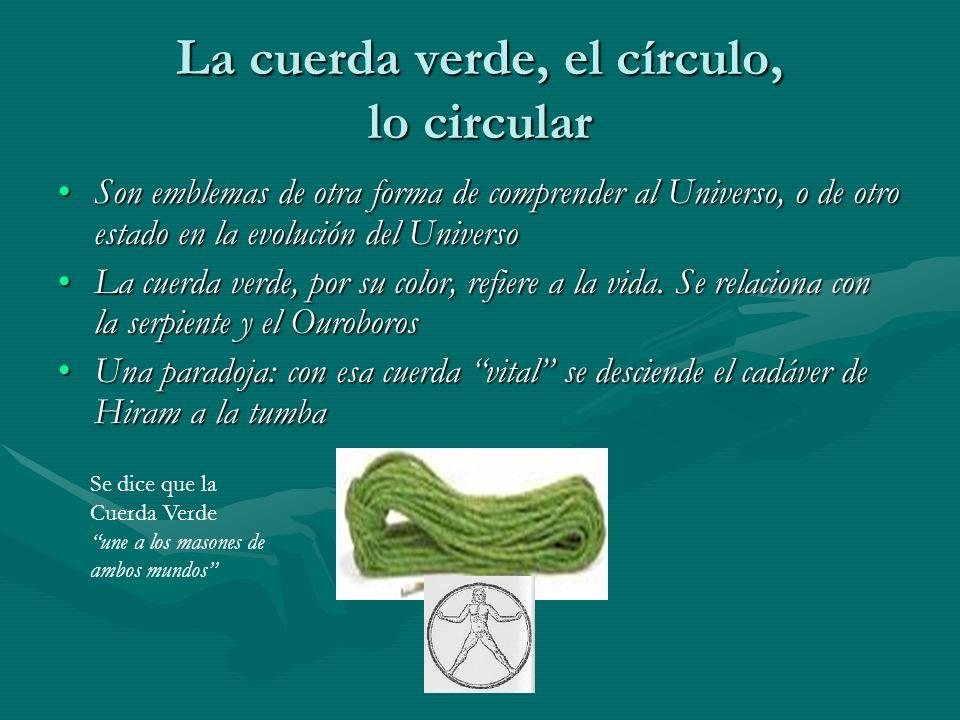 La cuerda verde, el círculo, lo circular Son emblemas de otra forma de comprender al Universo, o de otro estado en la evolución del UniversoSon emblem