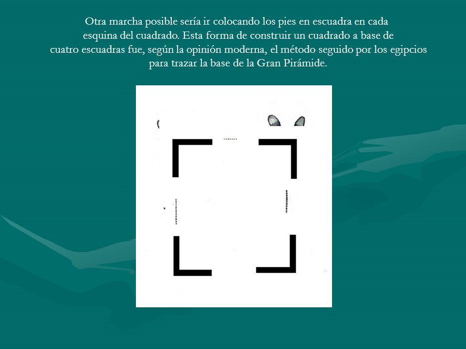 Otra marcha posible sería ir colocando los pies en escuadra en cada esquina del cuadrado. Esta forma de construir un cuadrado a base de cuatro escuadr