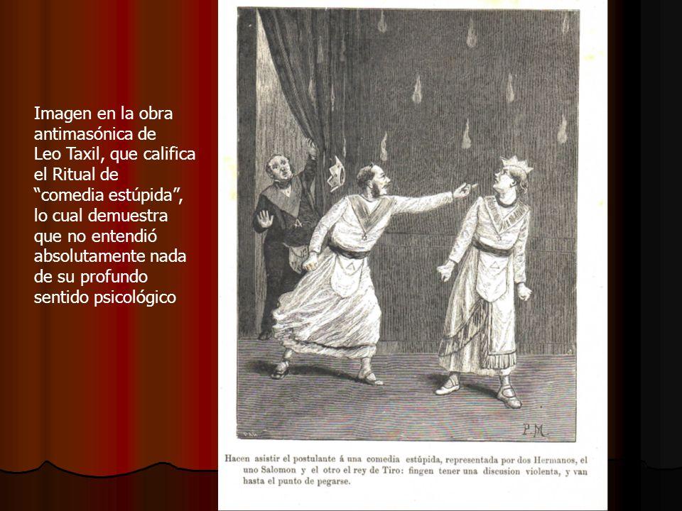 Imagen en la obra antimasónica de Leo Taxil, que califica el Ritual de comedia estúpida, lo cual demuestra que no entendió absolutamente nada de su pr
