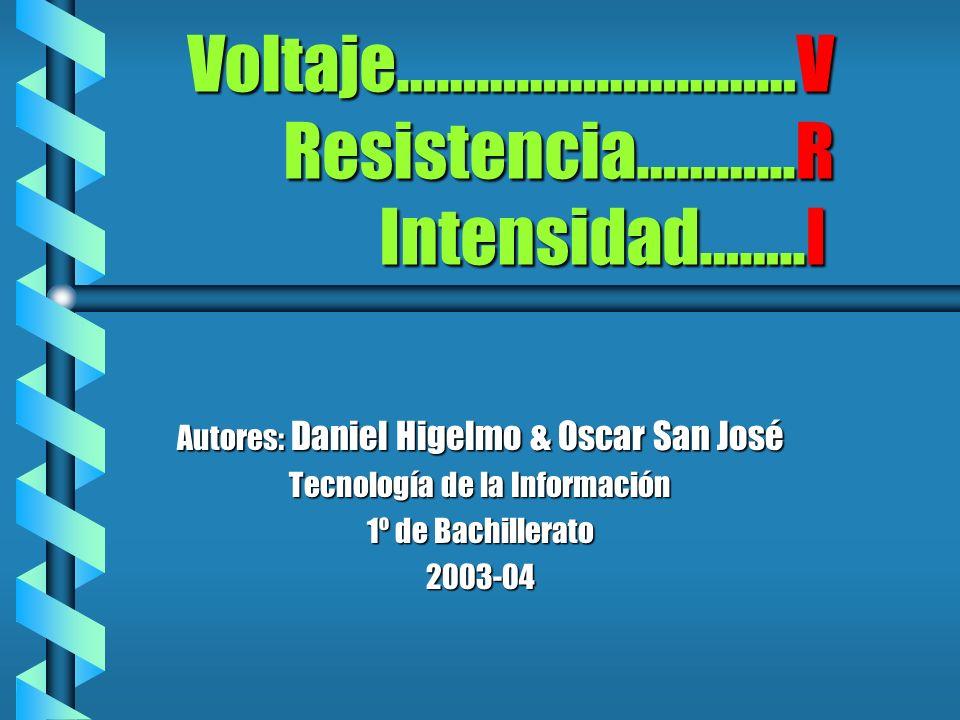 Voltaje…………………………V Resistencia………...R Intensidad……..I Autores: Daniel Higelmo & Oscar San José Tecnología de la Información 1º de Bachillerato 2003-04