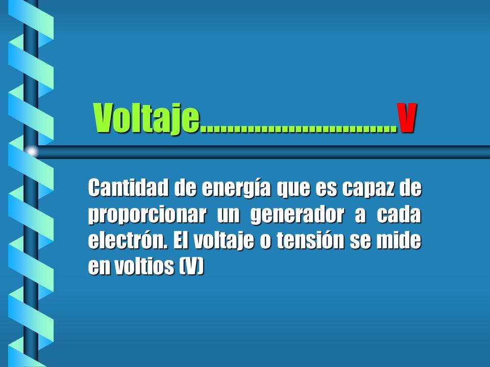 Voltaje………………..………V Cantidad de energía que es capaz de proporcionar un generador a cada electrón. El voltaje o tensión se mide en voltios (V)