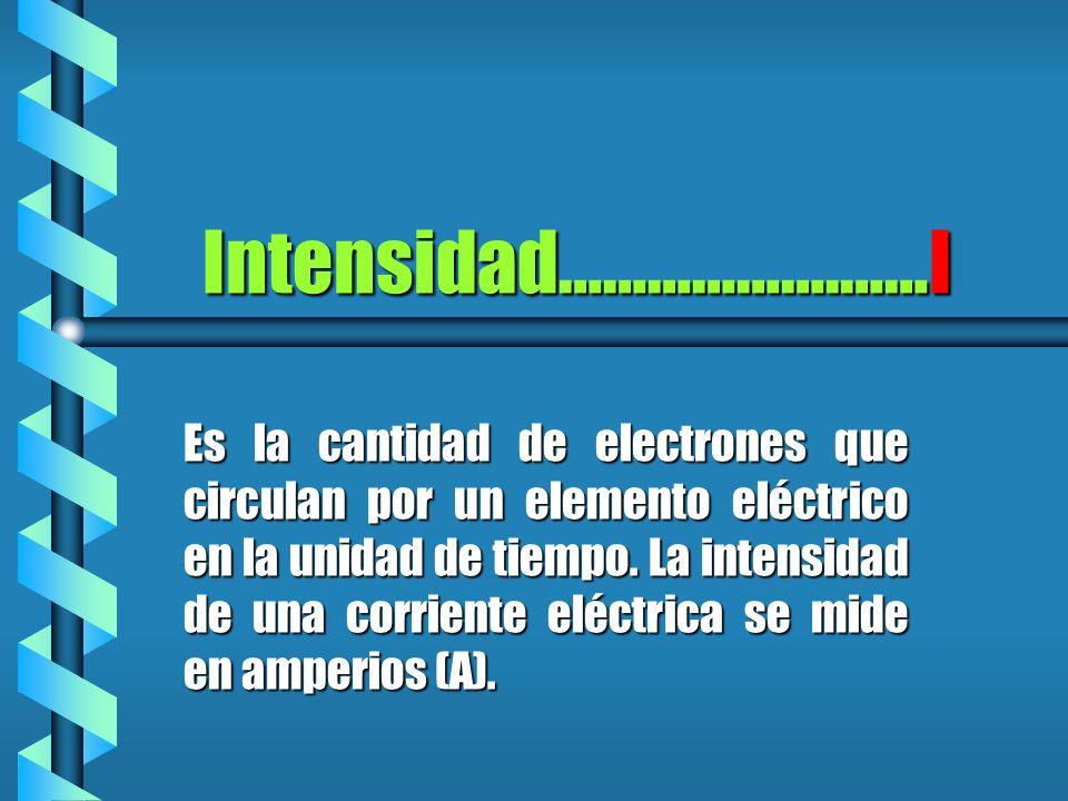 Es la cantidad de electrones que circulan por un elemento eléctrico en la unidad de tiempo. La intensidad de una corriente eléctrica se mide en amperi