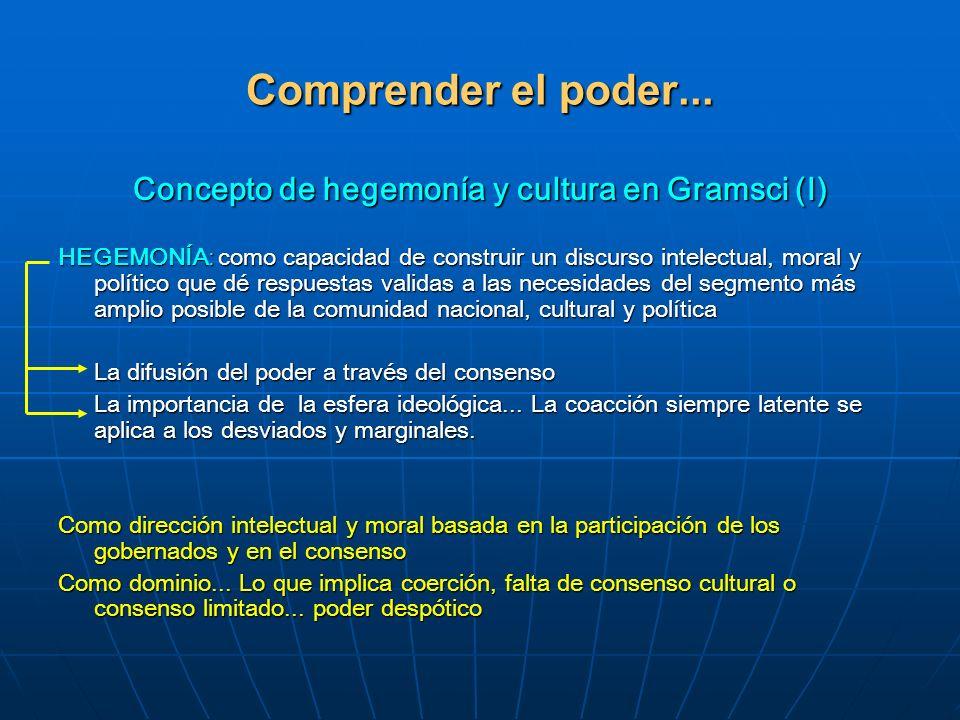 Comprender el poder... Concepto de hegemonía y cultura en Gramsci (I) HEGEMONÍA: como capacidad de construir un discurso intelectual, moral y político