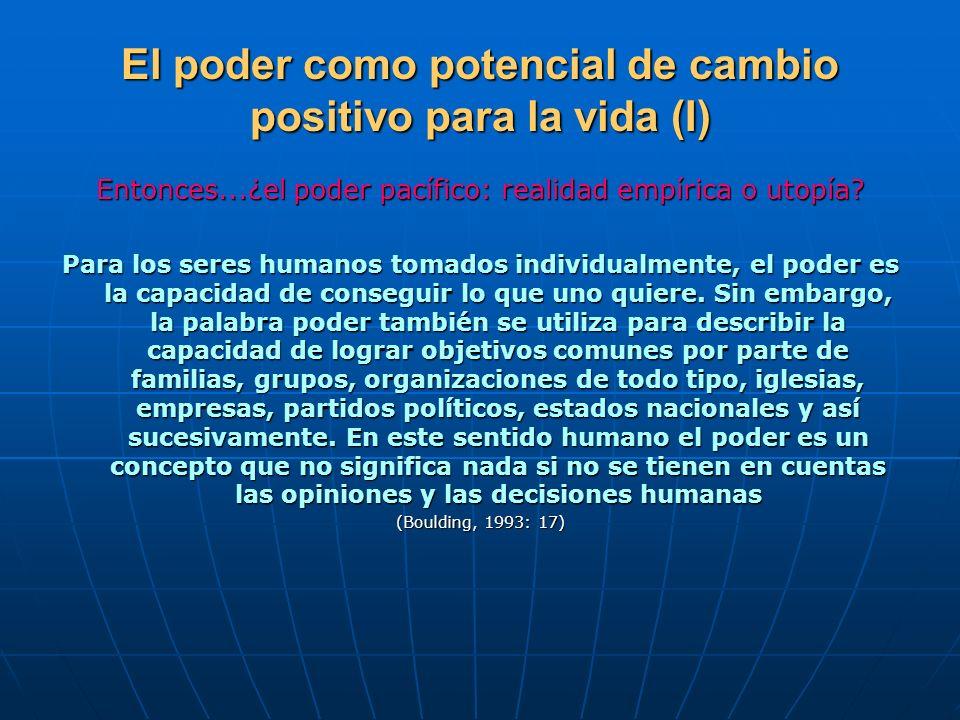 El poder como potencial de cambio positivo para la vida (I) Entonces...¿el poder pacífico: realidad empírica o utopía? Para los seres humanos tomados