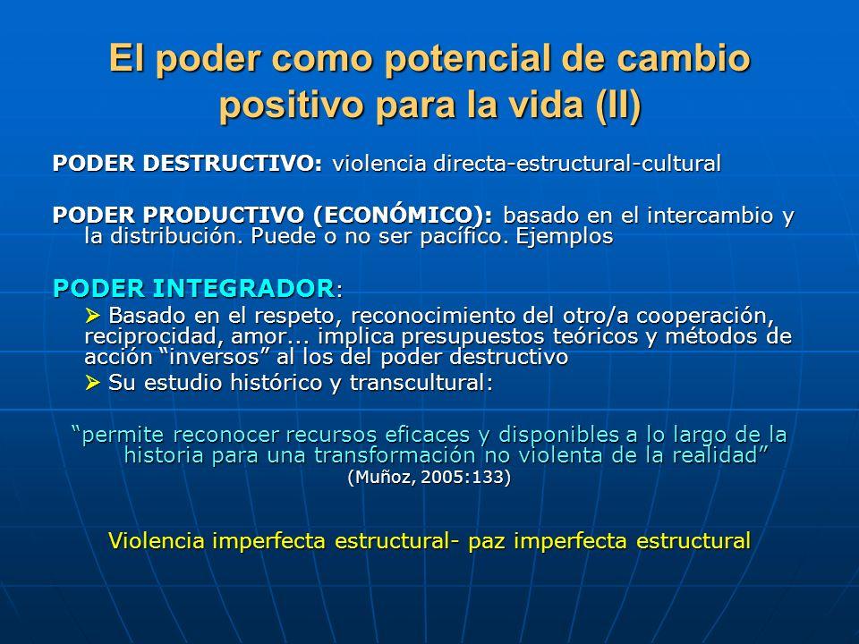 El poder como potencial de cambio positivo para la vida (II) PODER DESTRUCTIVO: violencia directa-estructural-cultural PODER PRODUCTIVO (ECONÓMICO): b