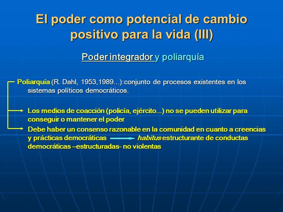 El poder como potencial de cambio positivo para la vida (III) Poder integrador y poliarquía Poder integrador y poliarquía Poder integrador Poder integ