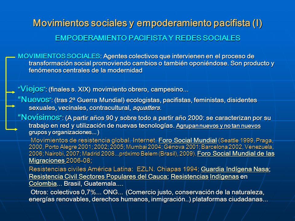 Movimientos sociales y empoderamiento pacifista (I) EMPODERAMIENTO PACIFISTA Y REDES SOCIALES MOVIMIENTOS SOCIALES: Agentes colectivos que intervienen