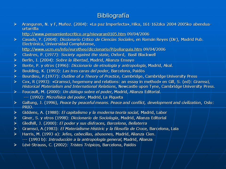 Bibliografía Aranguren, N. y F, Muñoz. (2004): «La paz Imperfecta», Hika, 161-162zka 2004-2005ko abendua- urtarrilla Aranguren, N. y F, Muñoz. (2004):