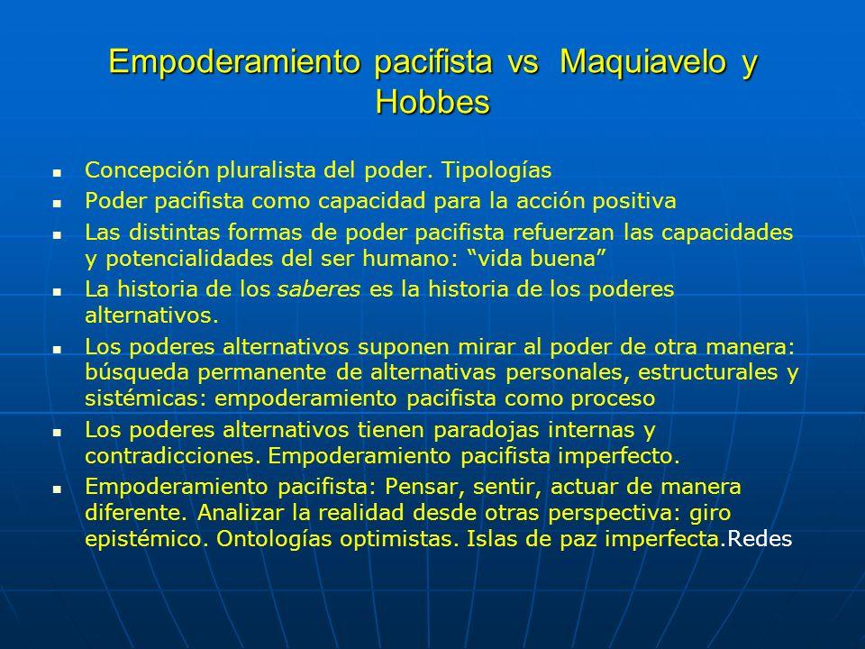 Empoderamiento pacifista vs Maquiavelo y Hobbes Concepción pluralista del poder. Tipologías Poder pacifista como capacidad para la acción positiva Las