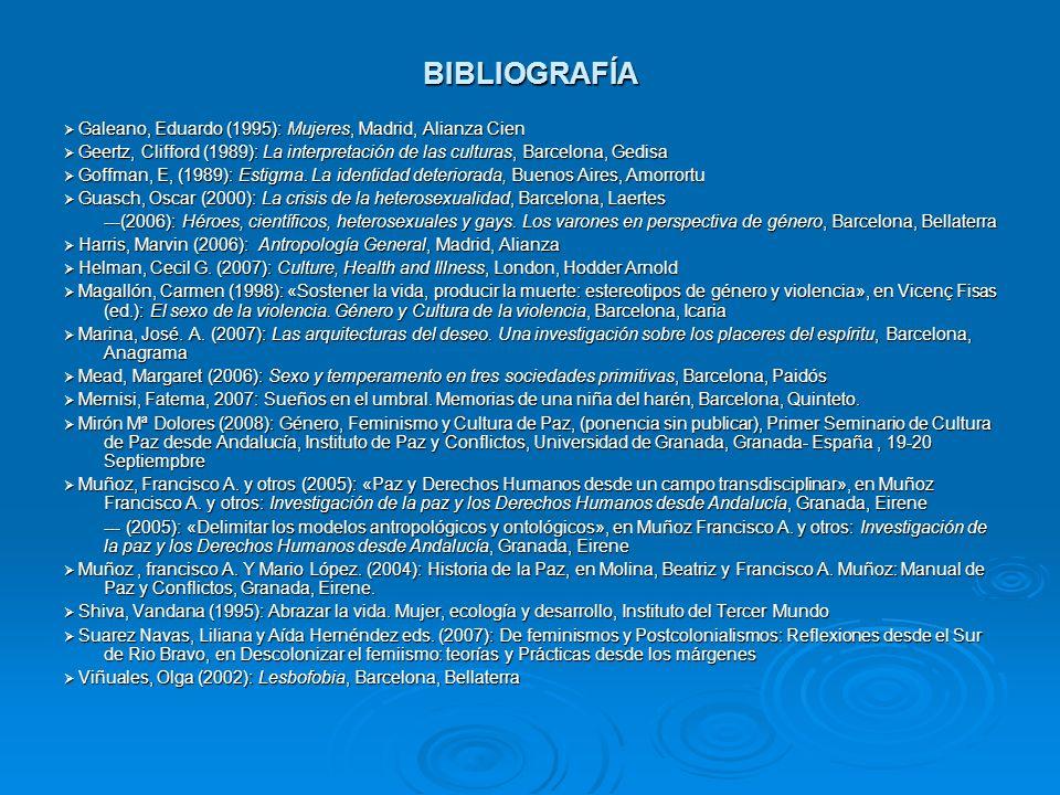BIBLIOGRAFÍA Galeano, Eduardo (1995): Mujeres, Madrid, Alianza Cien Galeano, Eduardo (1995): Mujeres, Madrid, Alianza Cien Geertz, Clifford (1989): La