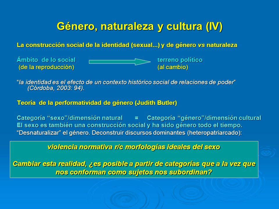 Género, naturaleza y cultura (IV) La construcción social de la identidad (sexual...) y de género vs naturaleza Ámbito de lo social terreno político (d
