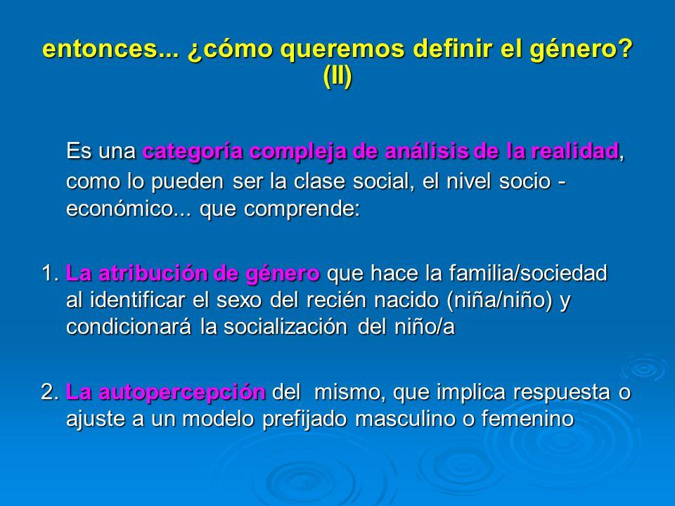 entonces... ¿cómo queremos definir el género? (II) Es una categoría compleja de análisis de la realidad, como lo pueden ser la clase social, el nivel