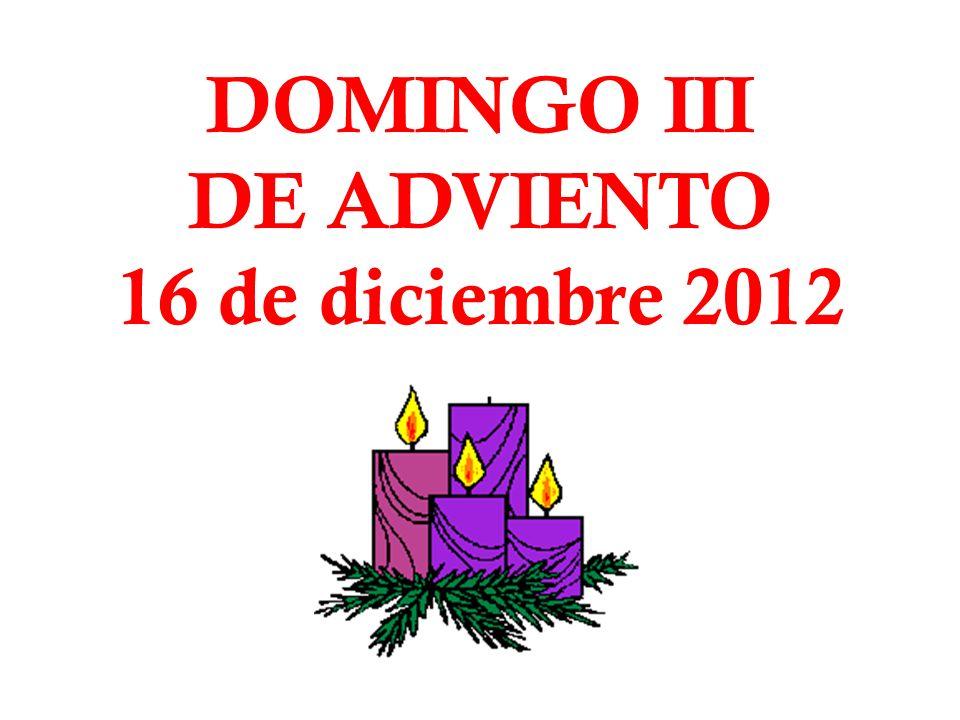 DOMINGO III DE ADVIENTO 16 de diciembre 2012