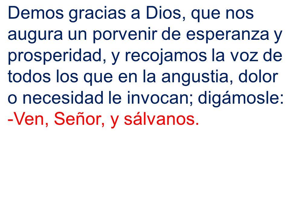 Demos gracias a Dios, que nos augura un porvenir de esperanza y prosperidad, y recojamos la voz de todos los que en la angustia, dolor o necesidad le invocan; digámosle: -Ven, Señor, y sálvanos.