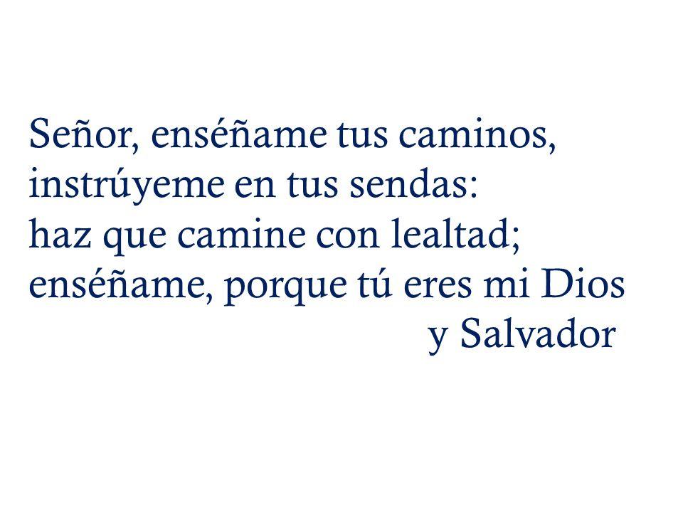 Señor, enséñame tus caminos, instrúyeme en tus sendas: haz que camine con lealtad; enséñame, porque tú eres mi Dios y Salvador