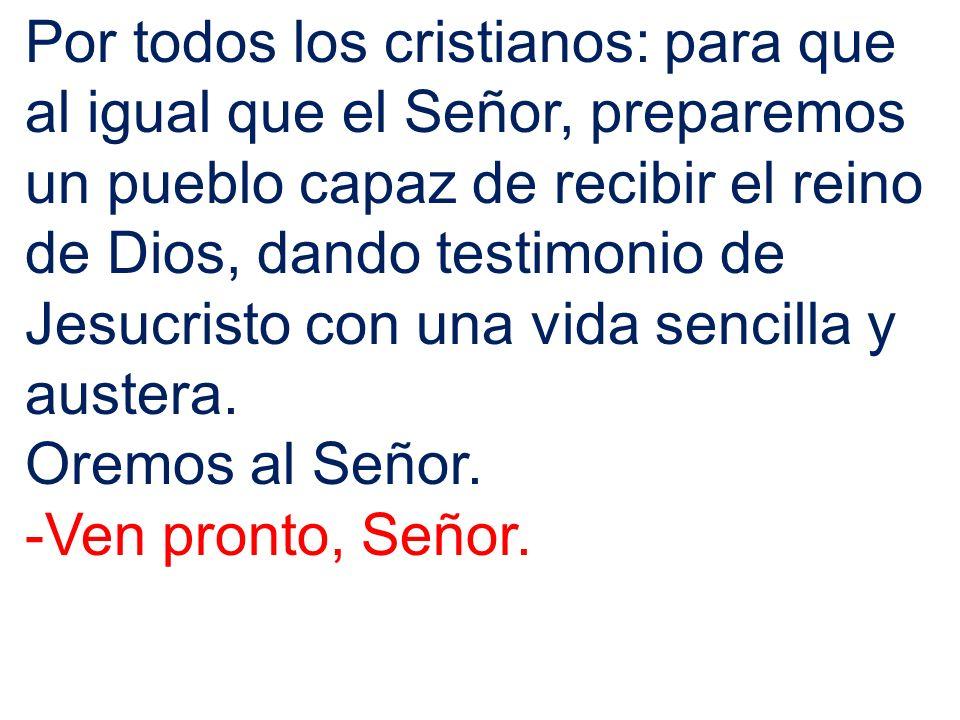 Por todos los cristianos: para que al igual que el Señor, preparemos un pueblo capaz de recibir el reino de Dios, dando testimonio de Jesucristo con u