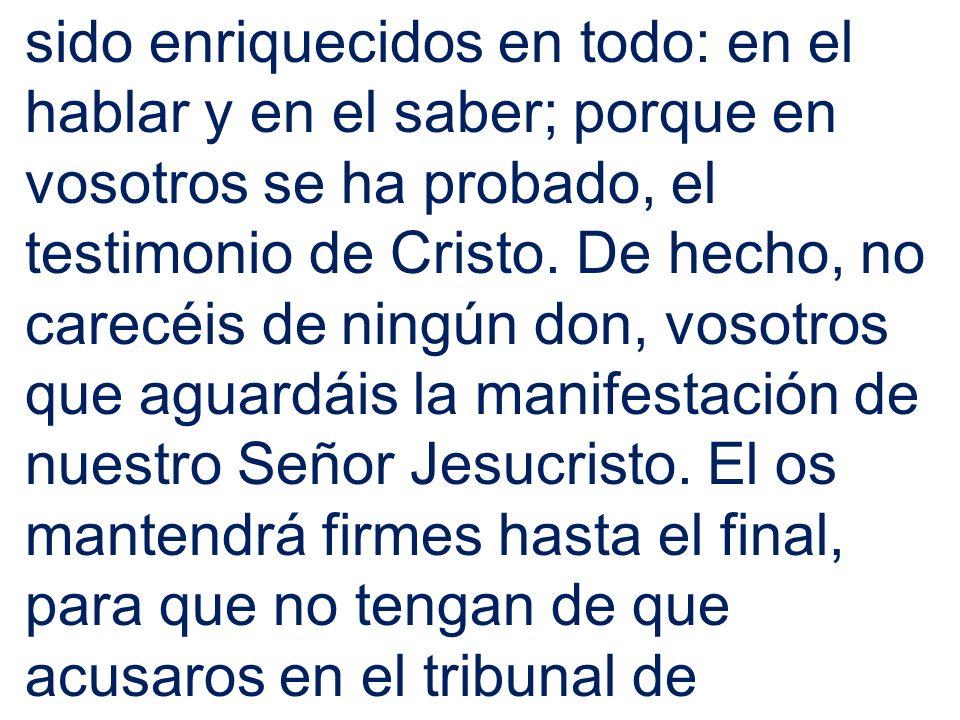 sido enriquecidos en todo: en el hablar y en el saber; porque en vosotros se ha probado, el testimonio de Cristo.