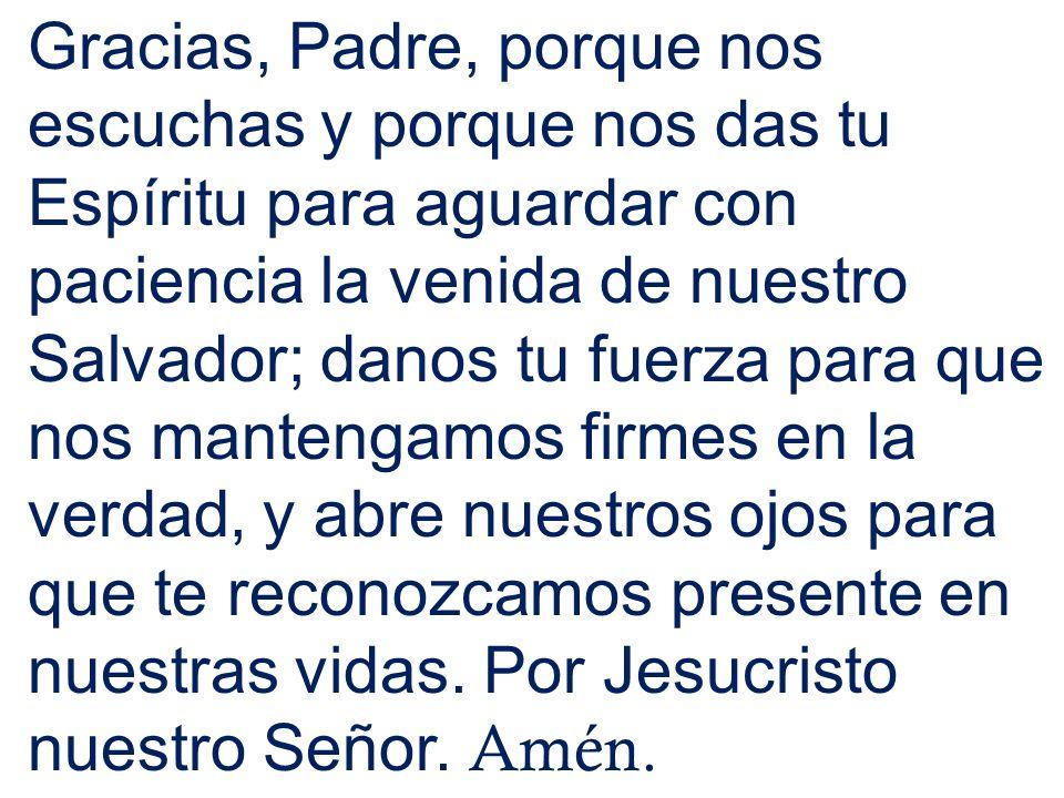 Gracias, Padre, porque nos escuchas y porque nos das tu Espíritu para aguardar con paciencia la venida de nuestro Salvador; danos tu fuerza para que n