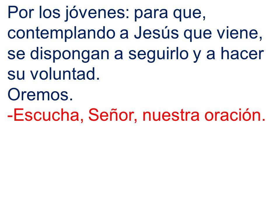 Por los jóvenes: para que, contemplando a Jesús que viene, se dispongan a seguirlo y a hacer su voluntad. Oremos. -Escucha, Señor, nuestra oración.