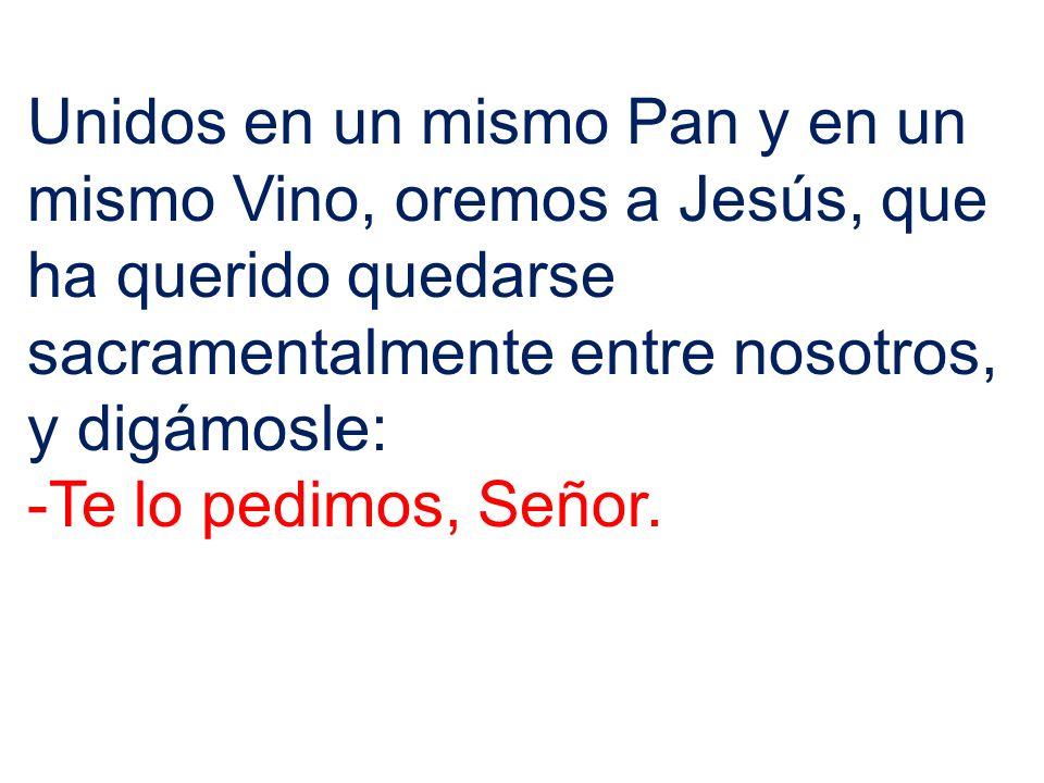 Unidos en un mismo Pan y en un mismo Vino, oremos a Jesús, que ha querido quedarse sacramentalmente entre nosotros, y digámosle: -Te lo pedimos, Señor