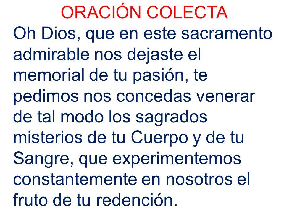 ORACIÓN COLECTA Oh Dios, que en este sacramento admirable nos dejaste el memorial de tu pasión, te pedimos nos concedas venerar de tal modo los sagrad