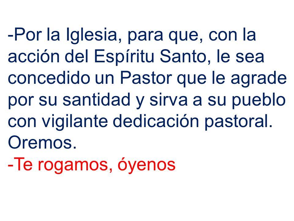 -Por la Iglesia, para que, con la acción del Espíritu Santo, le sea concedido un Pastor que le agrade por su santidad y sirva a su pueblo con vigilant