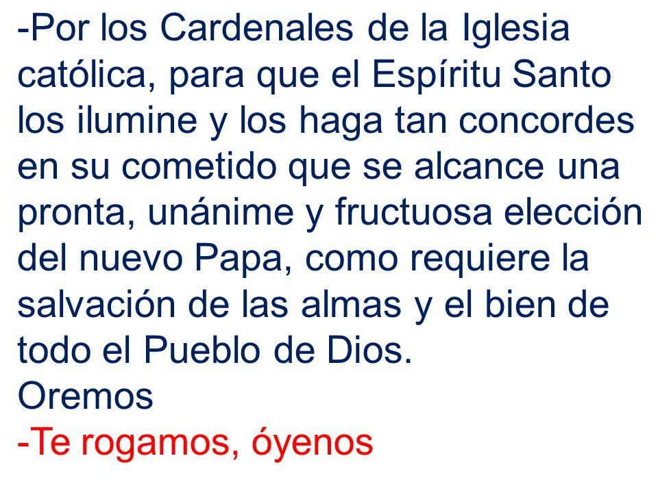 -Por los Cardenales de la Iglesia católica, para que el Espíritu Santo los ilumine y los haga tan concordes en su cometido que se alcance una pronta,