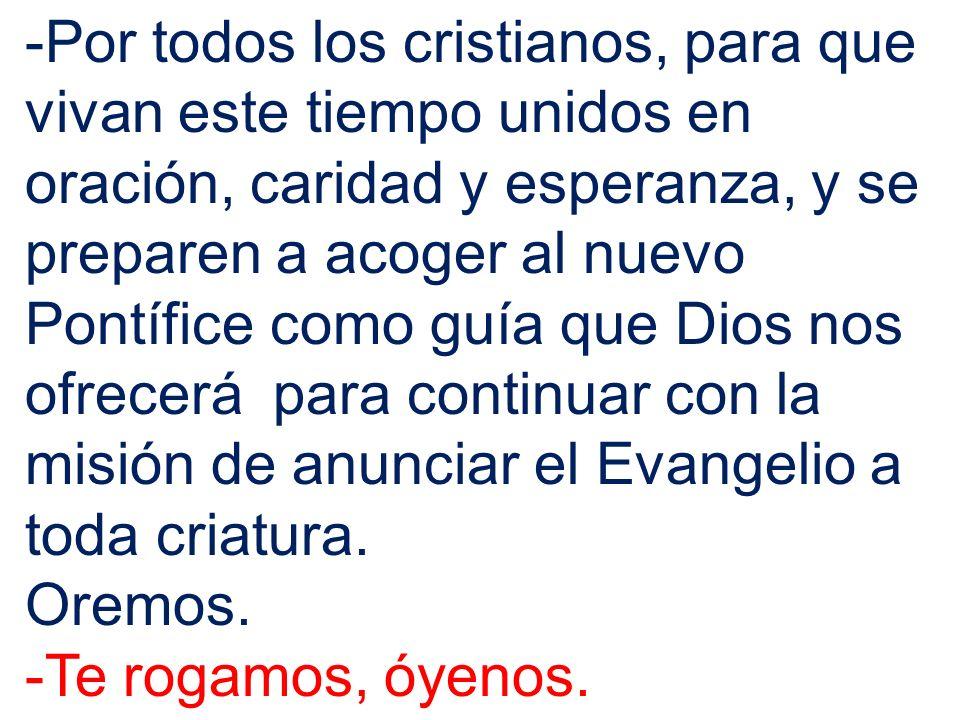 -Por todos los cristianos, para que vivan este tiempo unidos en oración, caridad y esperanza, y se preparen a acoger al nuevo Pontífice como guía que