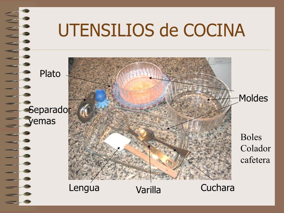 UTENSILIOS de COCINA Moldes Lengua Varilla Cuchara Separador yemas Plato Boles Colador cafetera