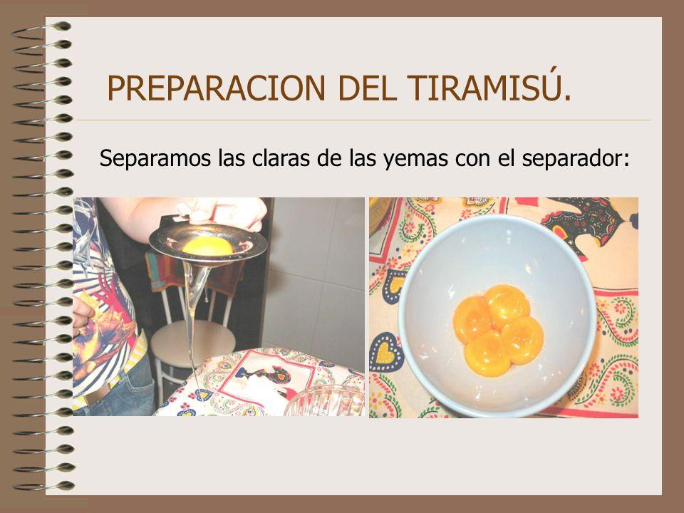 PREPARACION DEL TIRAMISÚ. Separamos las claras de las yemas con el separador: