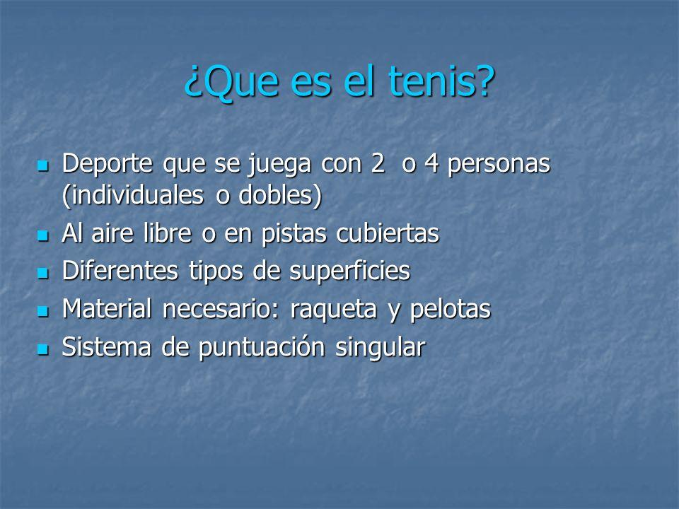¿Que es el tenis? Deporte que se juega con 2 o 4 personas (individuales o dobles) Deporte que se juega con 2 o 4 personas (individuales o dobles) Al a