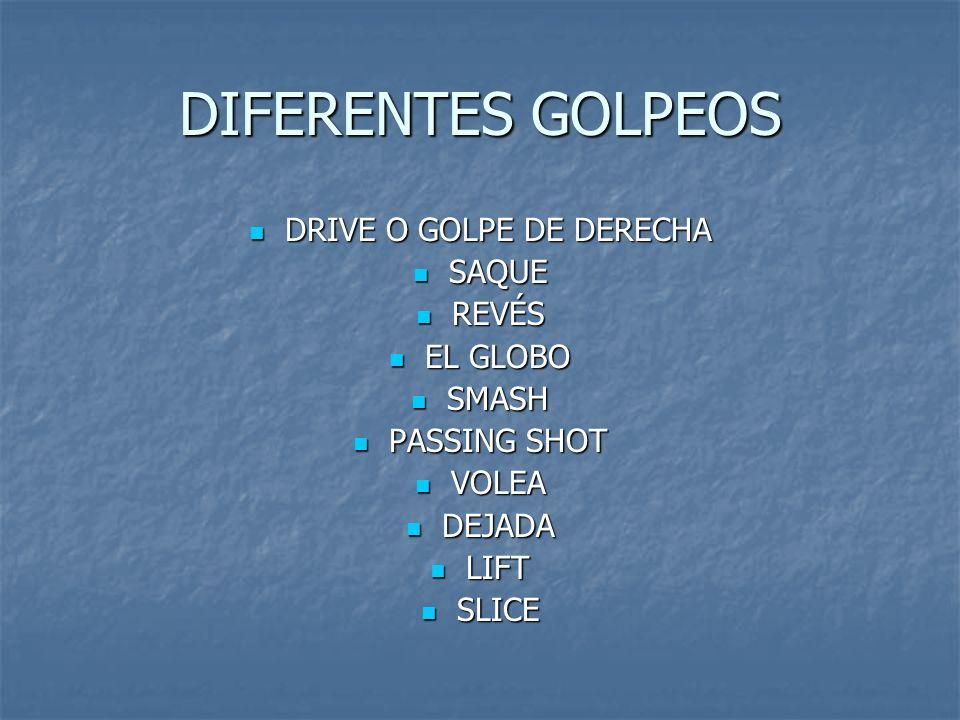 DIFERENTES GOLPEOS DRIVE O GOLPE DE DERECHA DRIVE O GOLPE DE DERECHA SAQUE SAQUE REVÉS REVÉS EL GLOBO EL GLOBO SMASH SMASH PASSING SHOT PASSING SHOT V