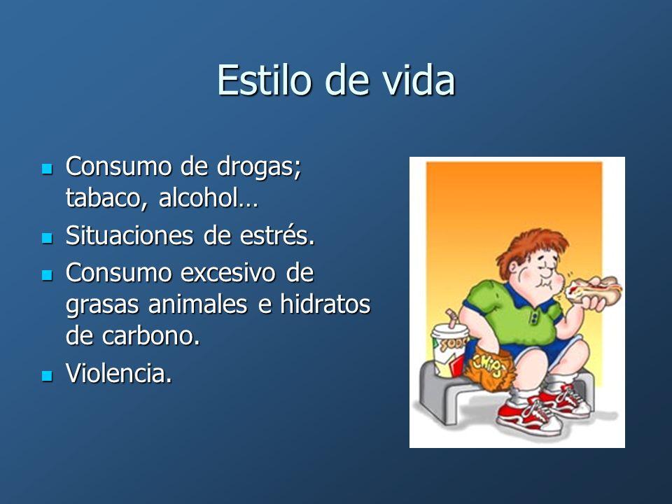 Estilo de vida Consumo de drogas; tabaco, alcohol… Consumo de drogas; tabaco, alcohol… Situaciones de estrés. Situaciones de estrés. Consumo excesivo