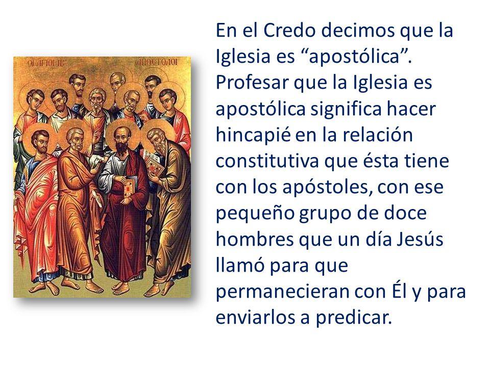 En el Credo decimos que la Iglesia es apostólica. Profesar que la Iglesia es apostólica significa hacer hincapié en la relación constitutiva que ésta