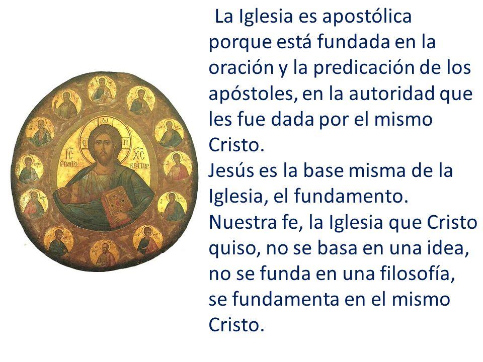 La Iglesia es apostólica porque está fundada en la oración y la predicación de los apóstoles, en la autoridad que les fue dada por el mismo Cristo. Je