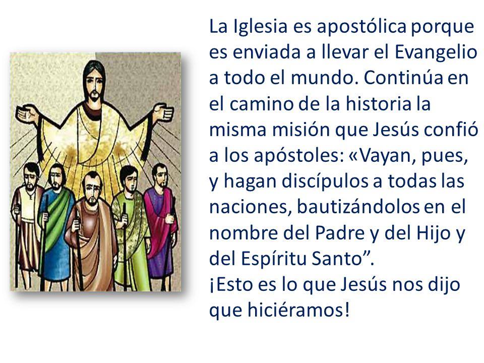 La Iglesia es apostólica porque es enviada a llevar el Evangelio a todo el mundo. Continúa en el camino de la historia la misma misión que Jesús confi