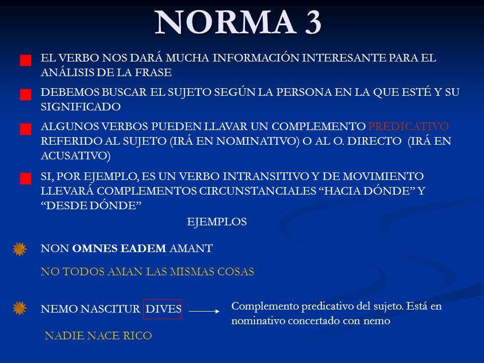 NORMA 3 EL VERBO NOS DARÁ MUCHA INFORMACIÓN INTERESANTE PARA EL ANÁLISIS DE LA FRASE DEBEMOS BUSCAR EL SUJETO SEGÚN LA PERSONA EN LA QUE ESTÉ Y SU SIG