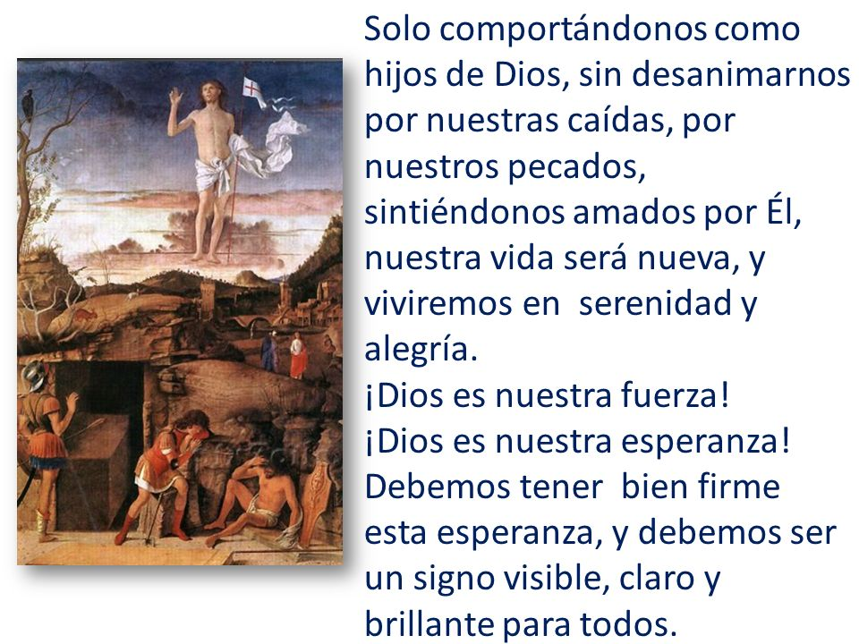 Solo comportándonos como hijos de Dios, sin desanimarnos por nuestras caídas, por nuestros pecados, sintiéndonos amados por Él, nuestra vida será nuev