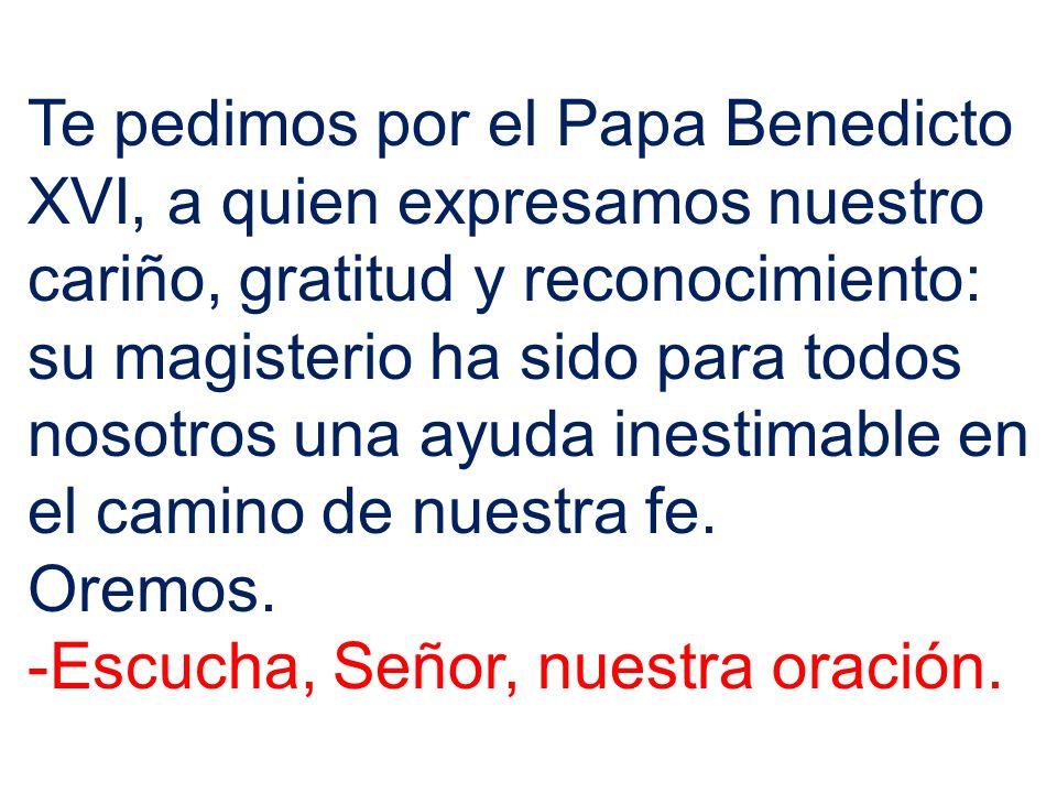 Te pedimos por el Papa Benedicto XVI, a quien expresamos nuestro cariño, gratitud y reconocimiento: su magisterio ha sido para todos nosotros una ayud
