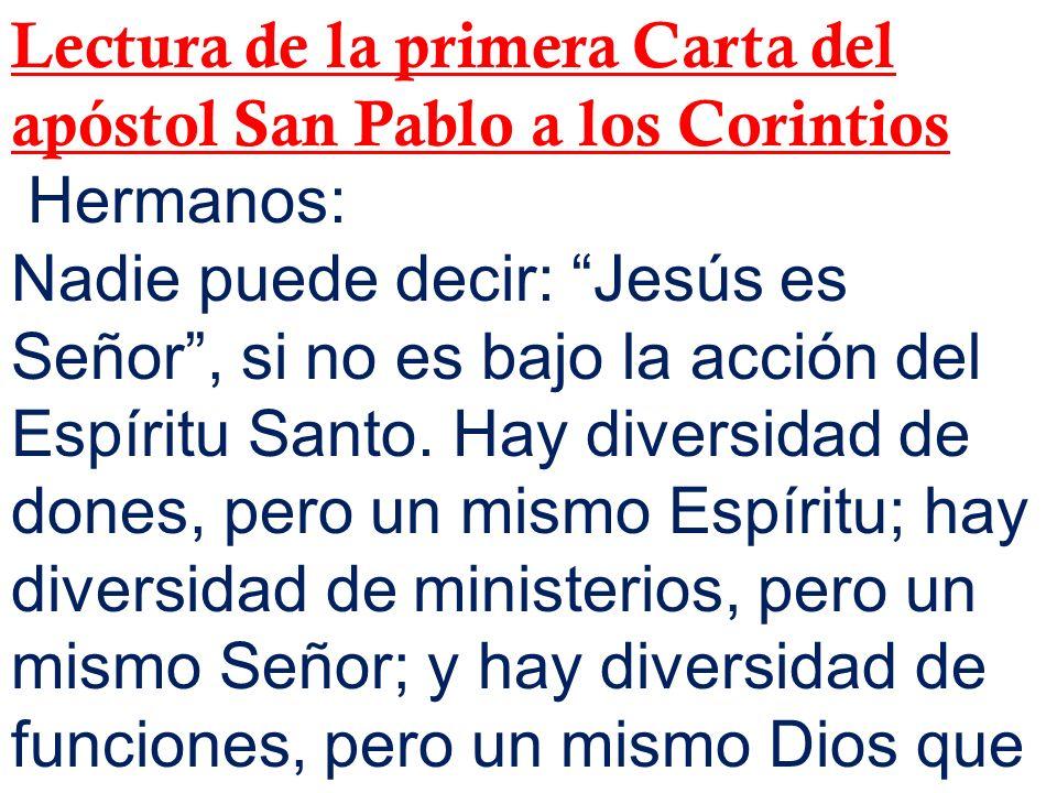 Lectura de la primera Carta del apóstol San Pablo a los Corintios Hermanos: Nadie puede decir: Jesús es Señor, si no es bajo la acción del Espíritu Sa