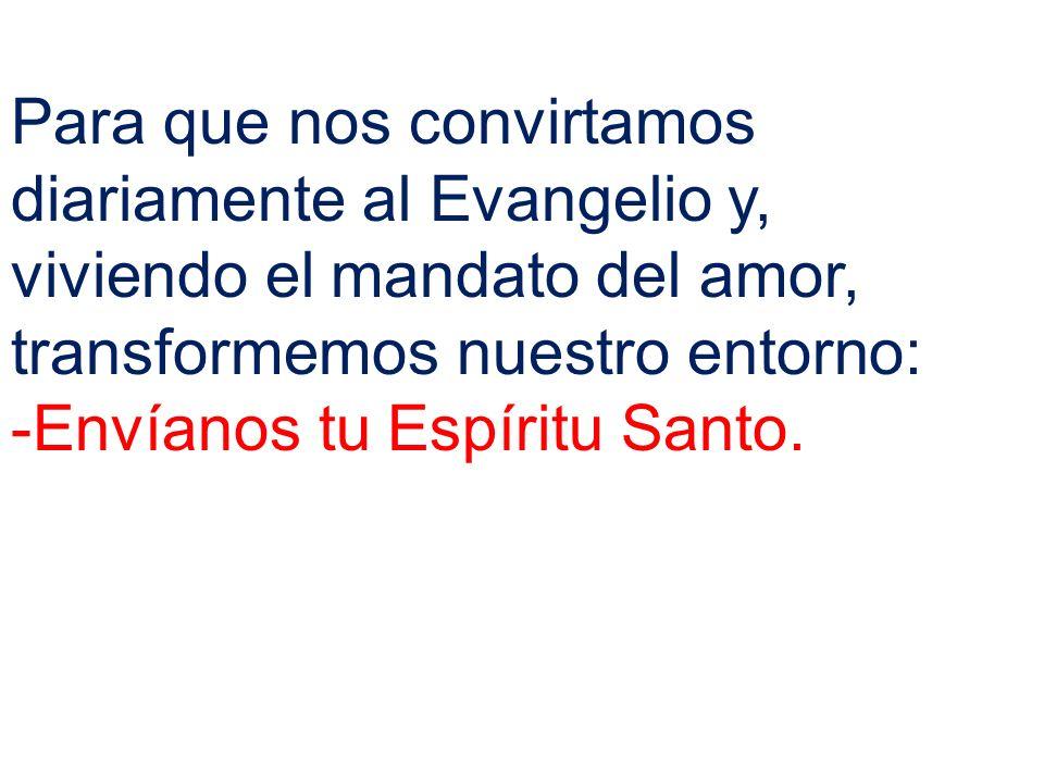Para que nos convirtamos diariamente al Evangelio y, viviendo el mandato del amor, transformemos nuestro entorno: -Envíanos tu Espíritu Santo.
