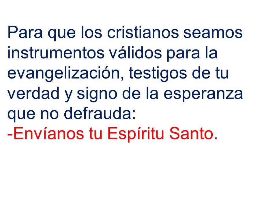 Para que los cristianos seamos instrumentos válidos para la evangelización, testigos de tu verdad y signo de la esperanza que no defrauda: -Envíanos t
