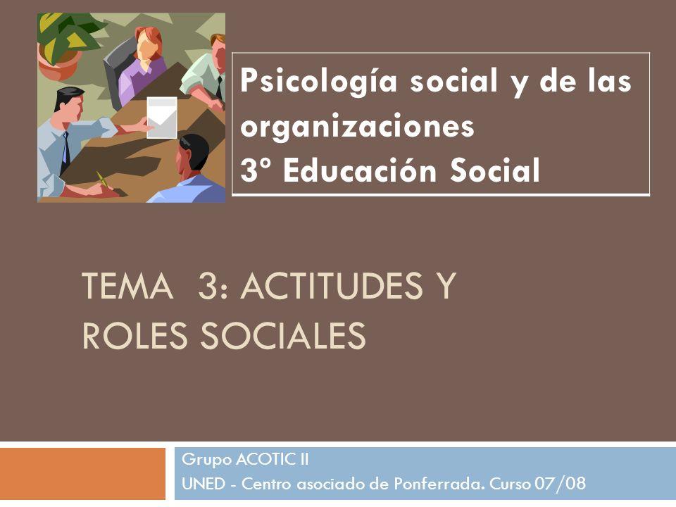 TEMA 3: ACTITUDES Y ROLES SOCIALES Grupo ACOTIC II UNED - Centro asociado de Ponferrada. Curso 07/08 Psicología social y de las organizaciones 3º Educ