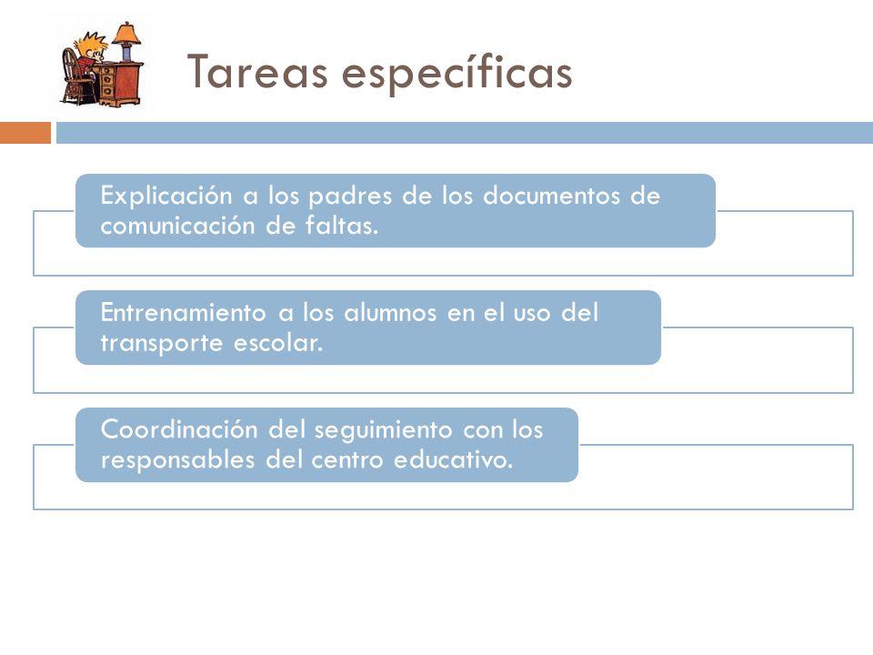 Tareas específicas Explicación a los padres de los documentos de comunicación de faltas. Entrenamiento a los alumnos en el uso del transporte escolar.