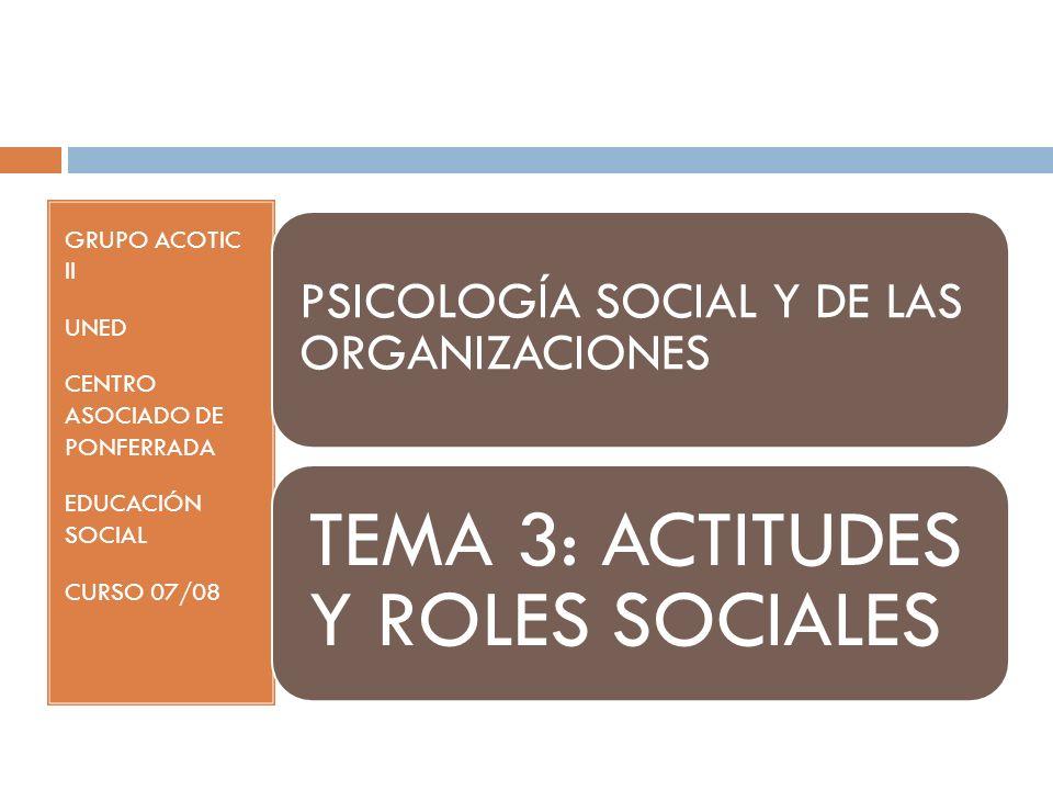 GRUPO ACOTIC II UNED CENTRO ASOCIADO DE PONFERRADA EDUCACIÓN SOCIAL CURSO 07/08 PSICOLOGÍA SOCIAL Y DE LAS ORGANIZACIONES TEMA 3: ACTITUDES Y ROLES SOCIALES