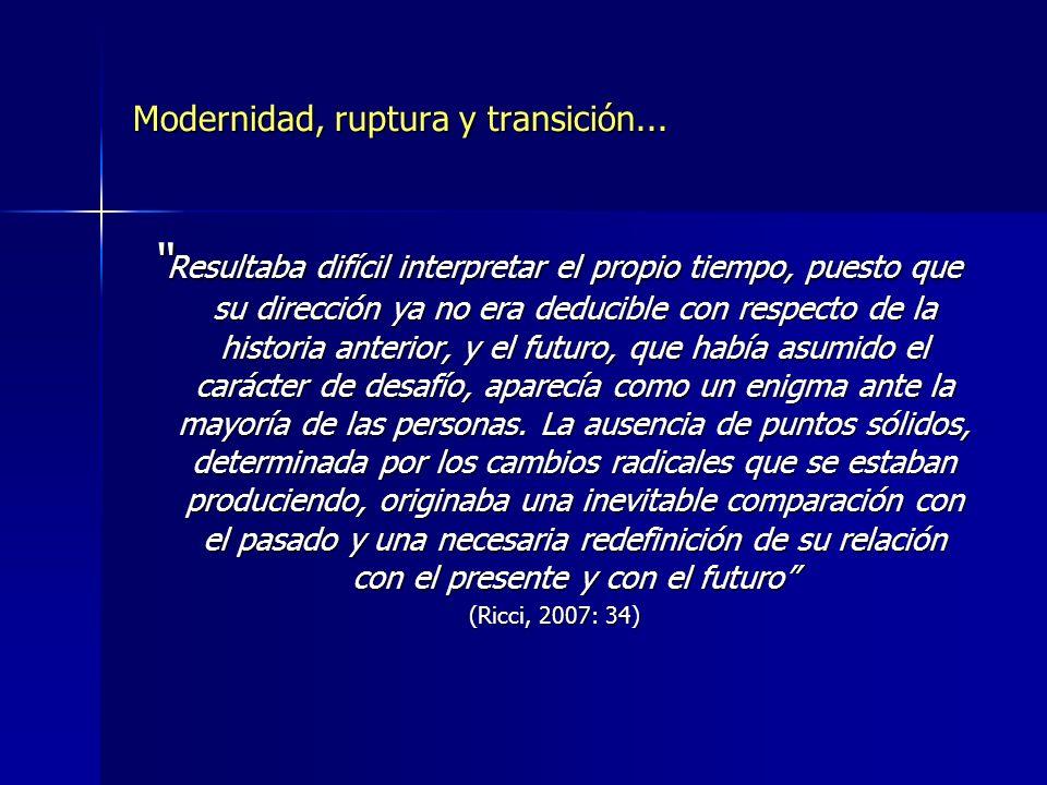 Modernidad: representaciones, tiempos, contextos, actores, memoria...