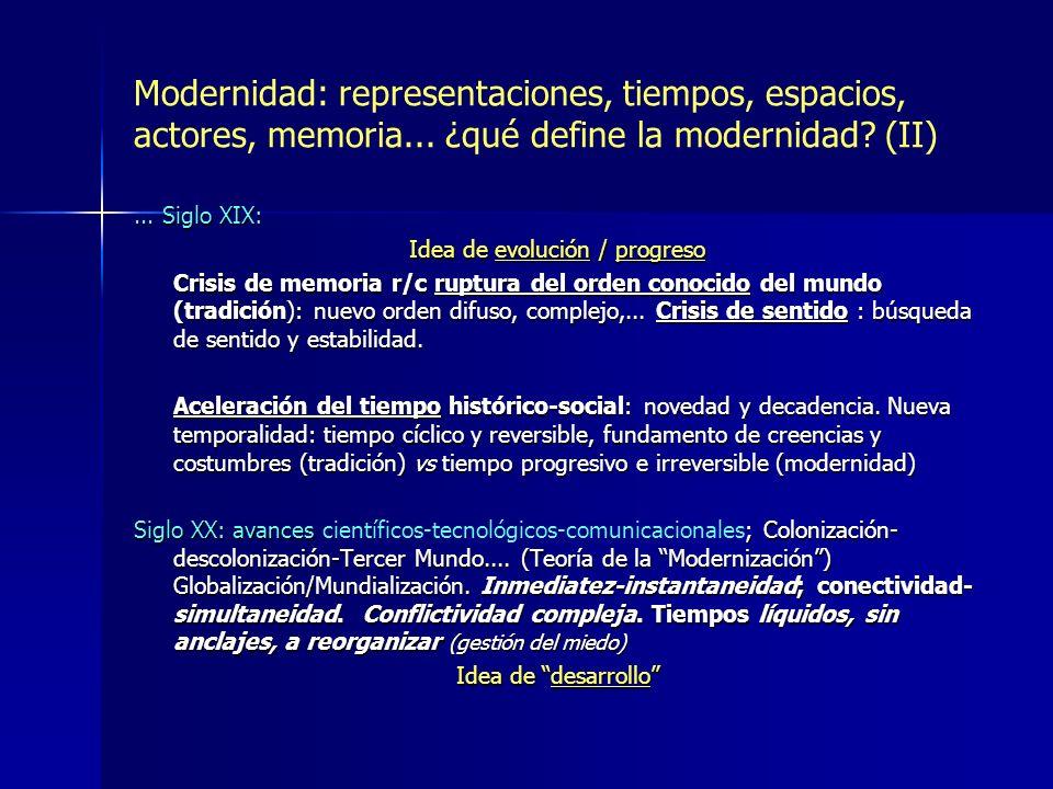 Modernidad: representaciones, tiempos, espacios, actores, memoria... ¿qué define la modernidad? (II)... Siglo XIX: Idea de evolución / progreso Crisis