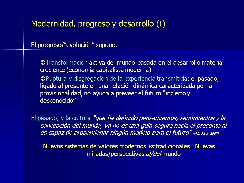 Modernidad, progreso y desarrollo (I) El progreso/evolución supone: Transformación activa del mundo basada en el desarrollo material creciente (econom