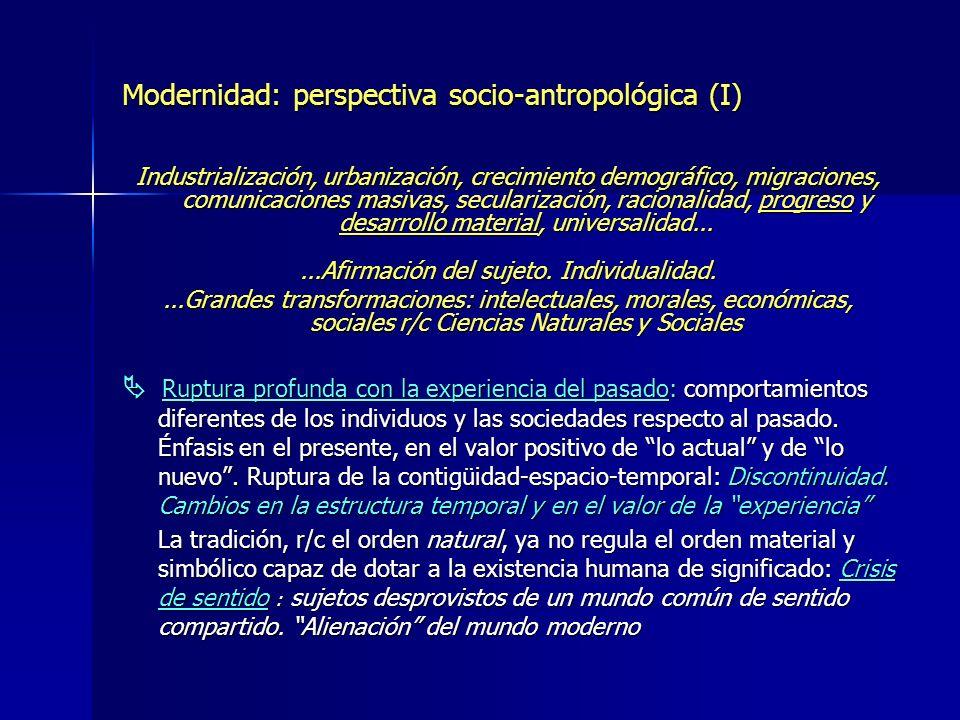 Modernidad: perspectiva socio-antropológica (I) Industrialización, urbanización, crecimiento demográfico, migraciones, comunicaciones masivas, secular